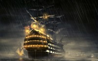Ship on Sea with Rain 4K