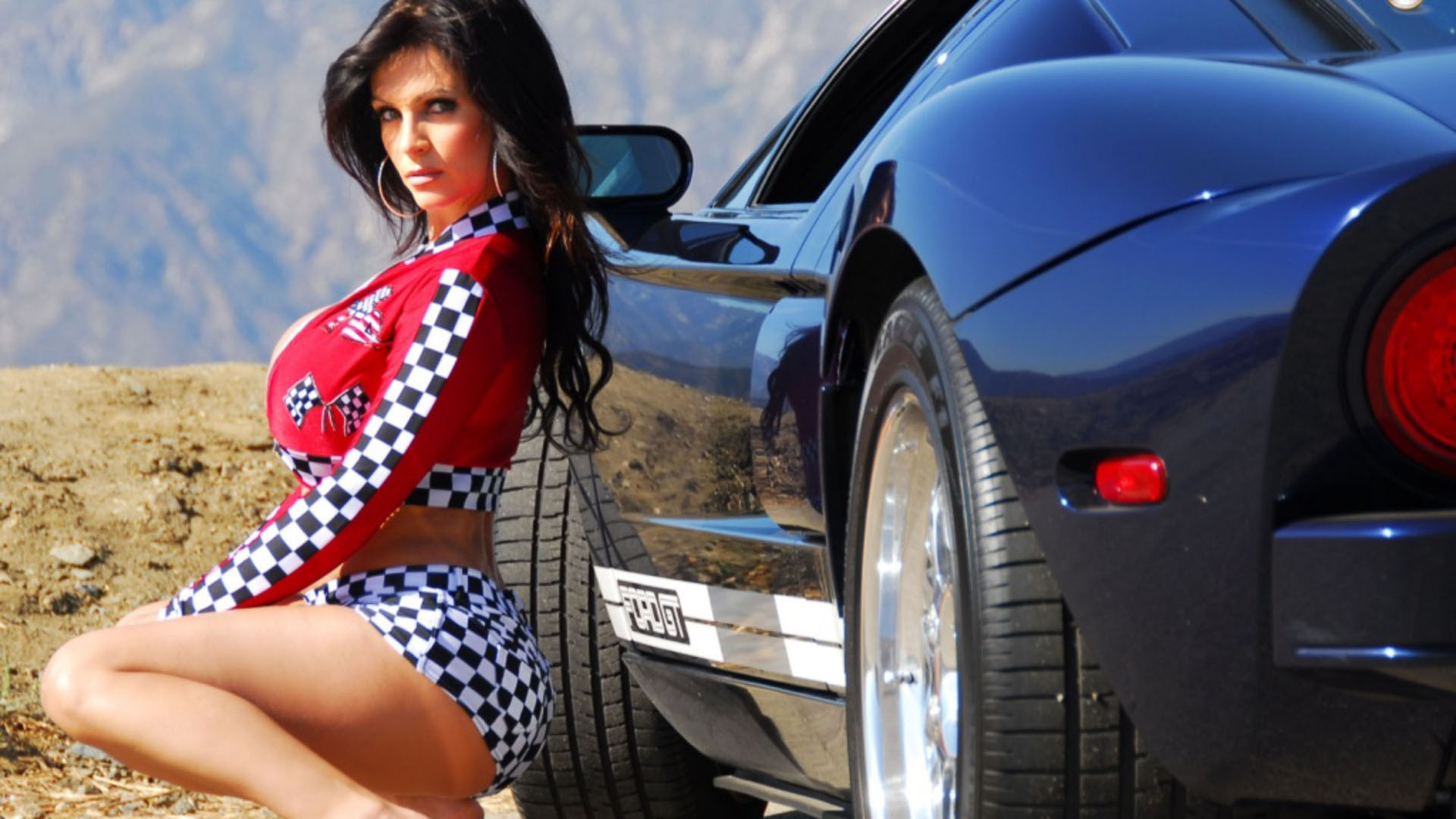 Rich Young Sexy Girl Driving Car Stock Photo