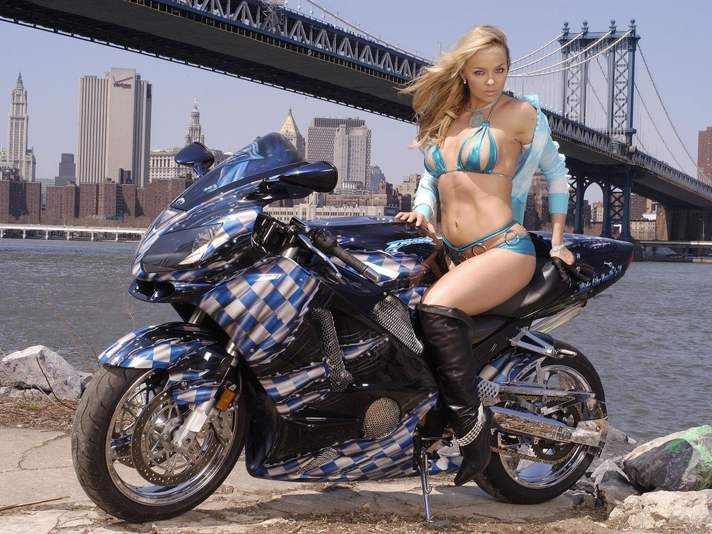 Motorcycles Hot Girl On Bike Wide Screen Wallpaper 1080p
