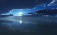 Moon and Sea Wide Screen Wallpapers