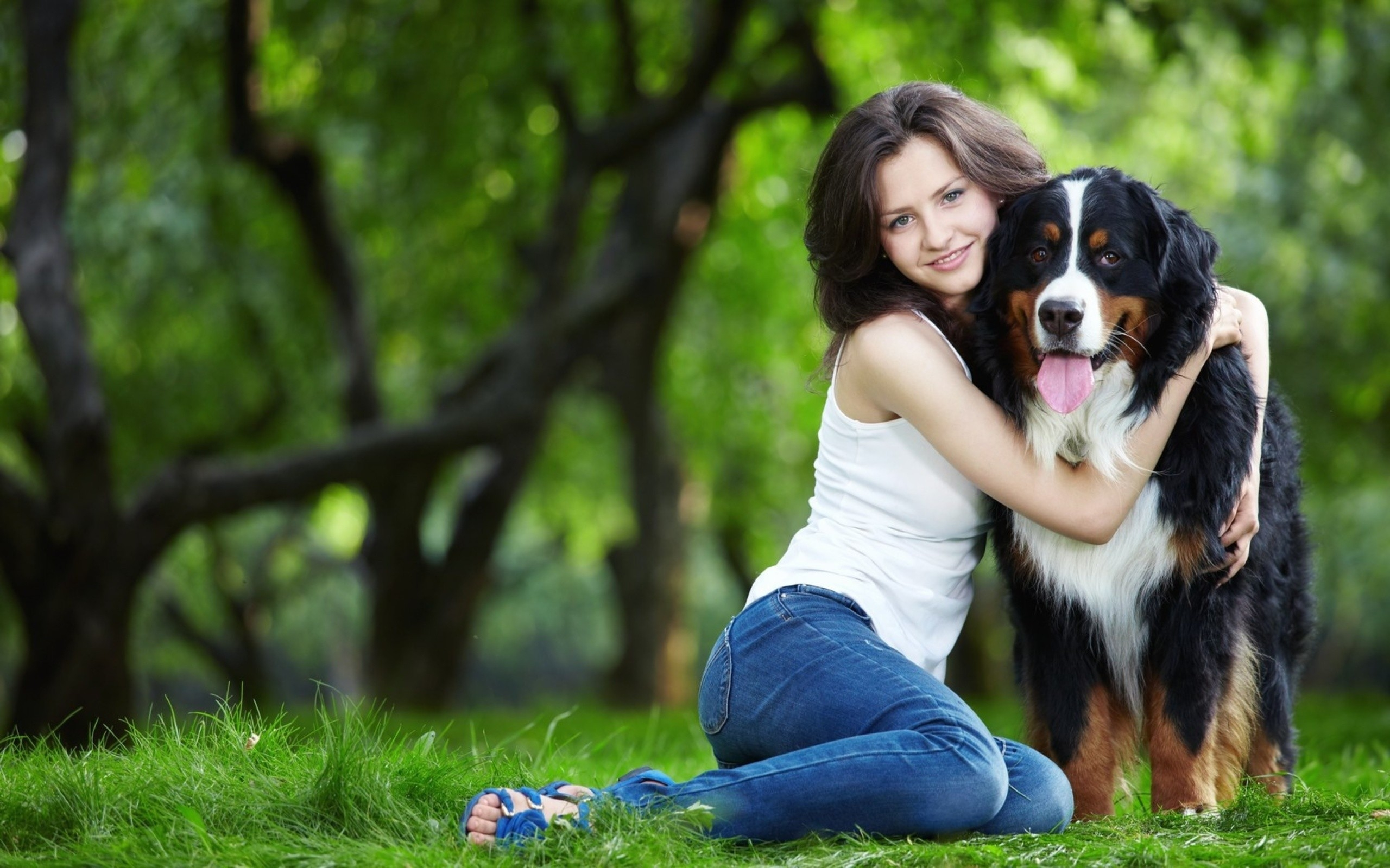 Girl with Dog in Park Wallpaper