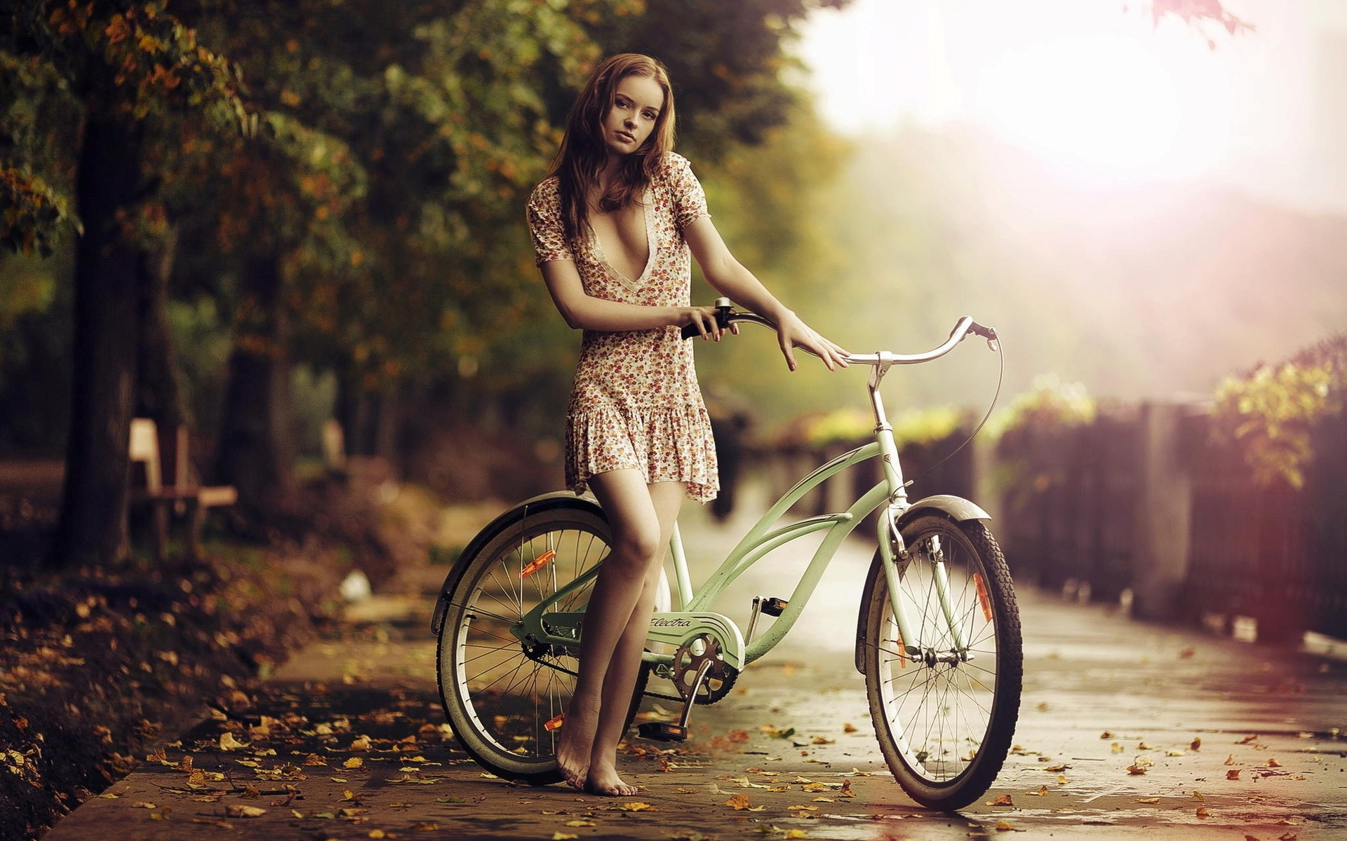 Girl On A Bike In Sunrise  Wallpaper