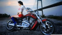 Harley Davidson with Hot Girl Wallpaper