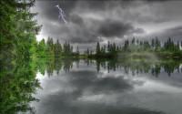 Rain on River HD Wallpaper