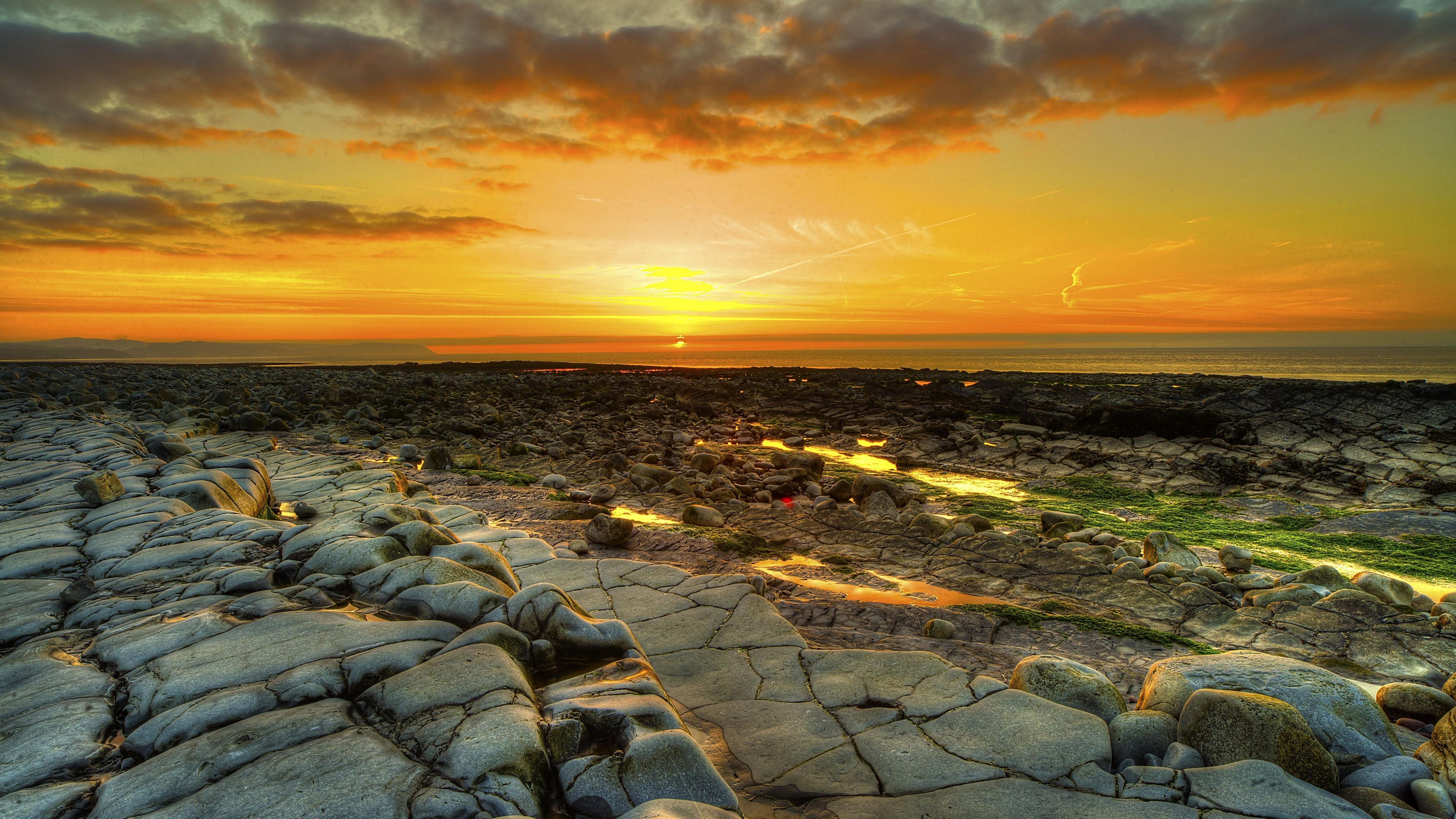 3840×2160 Yellow Sky field, fence landscape | Wide Screen Wallpaper 1080p,2K,4K