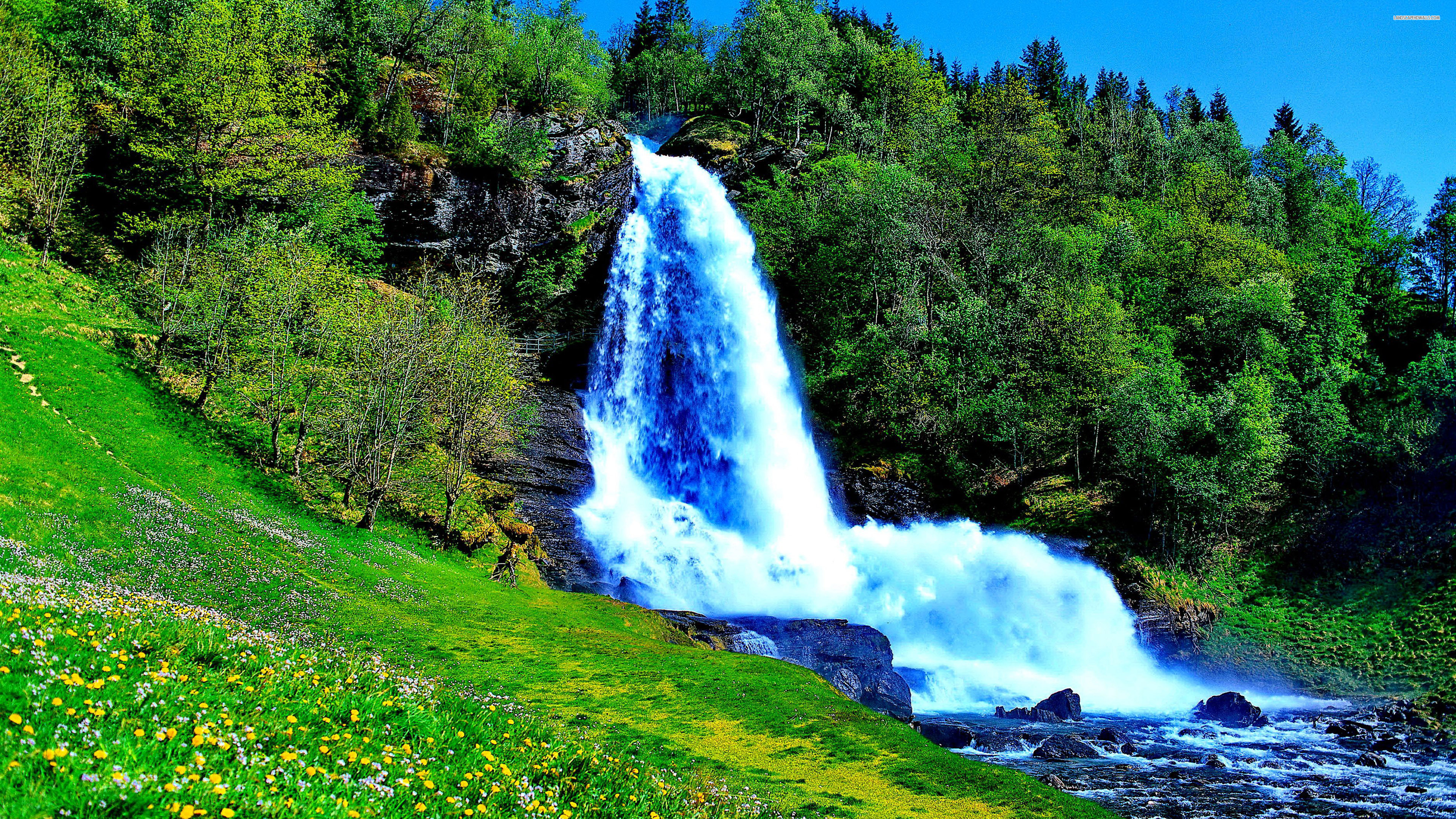 Beautiful waterfall in the spring wallpaper 939 wide screen