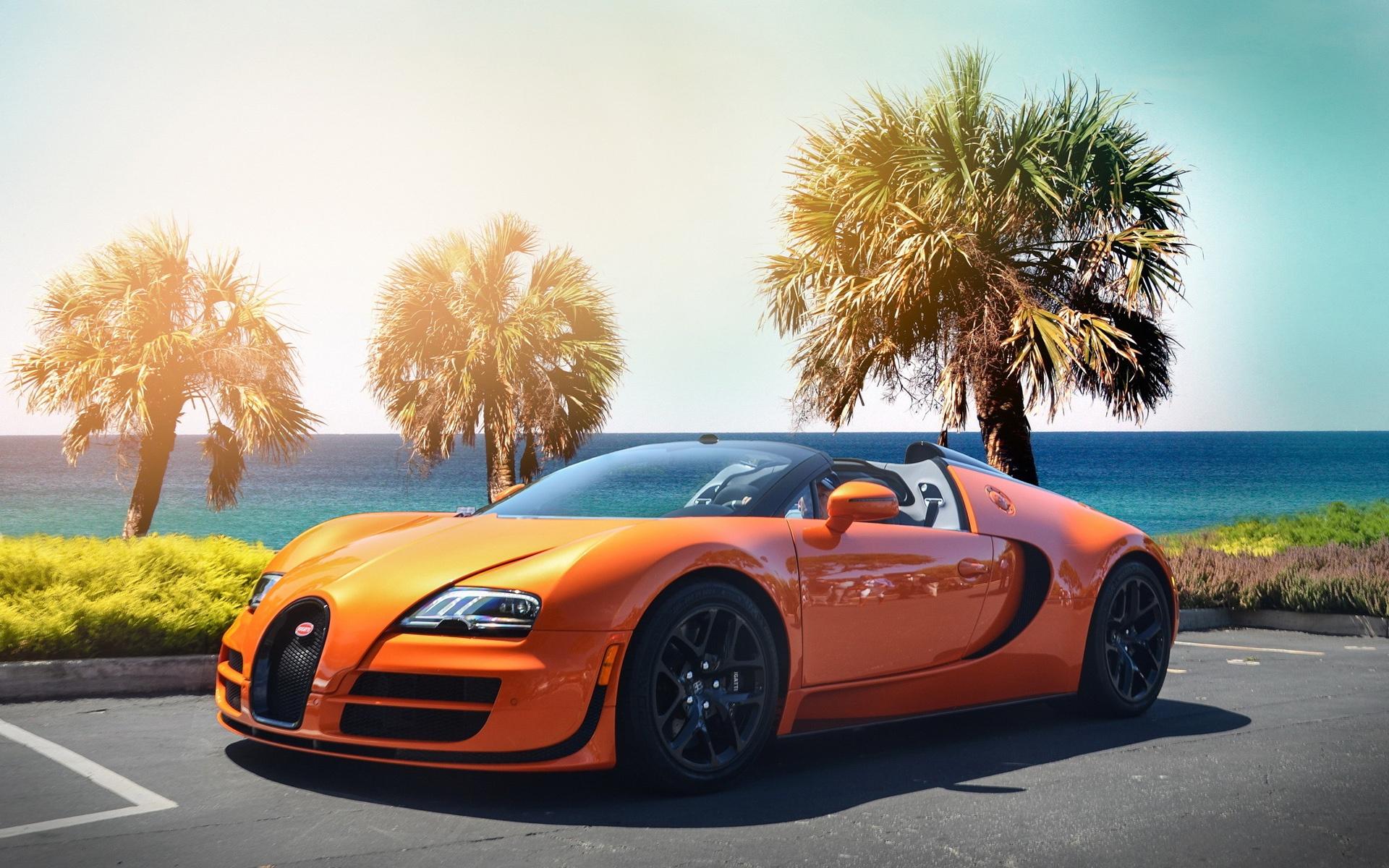 Bugatti Veyron Hypercar Orange Color Wallpapers Wide