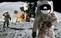 Apollo Earthrise Reflection HD Wallpaper