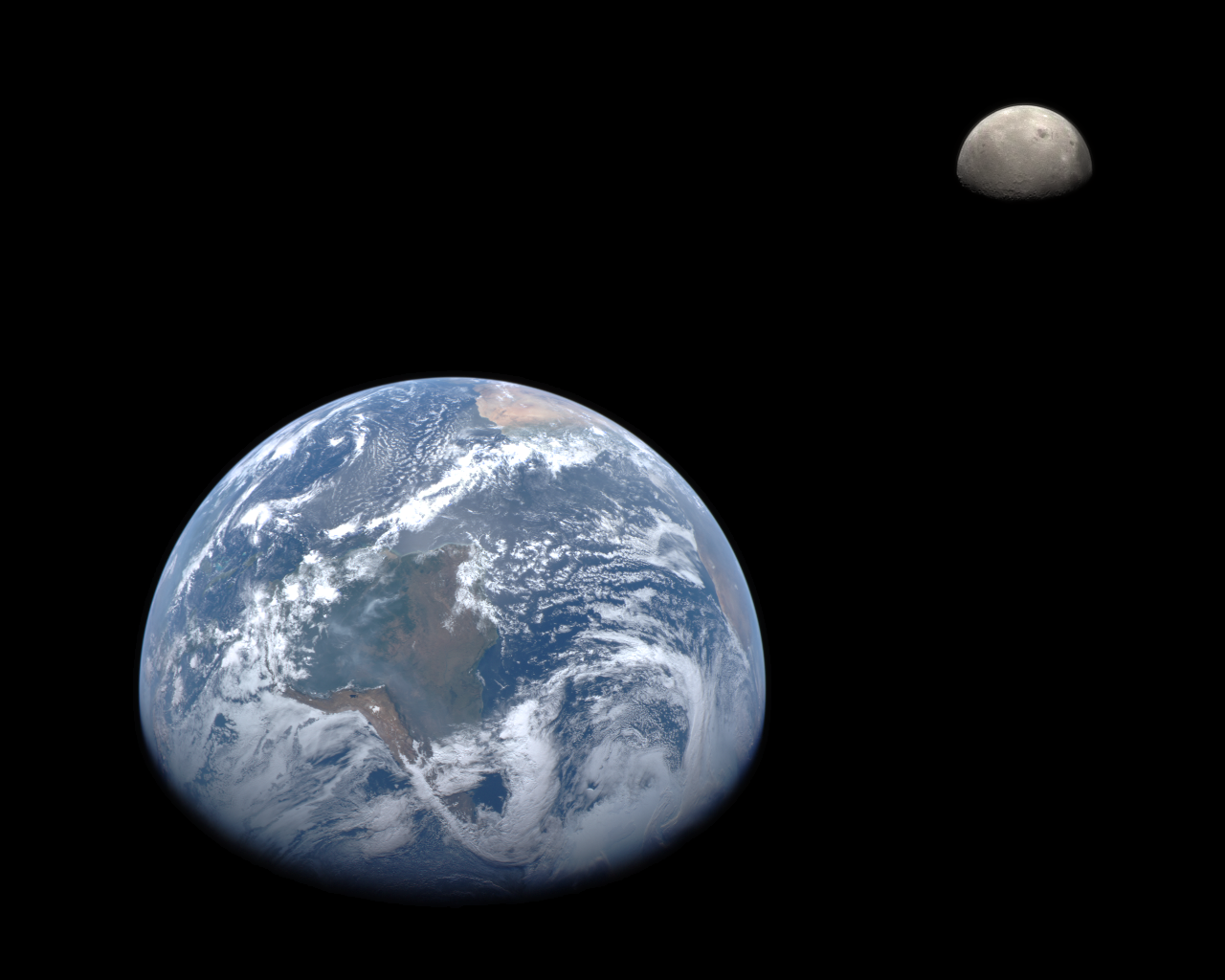 Earth and Moon from MESSENGER Wallpaper
