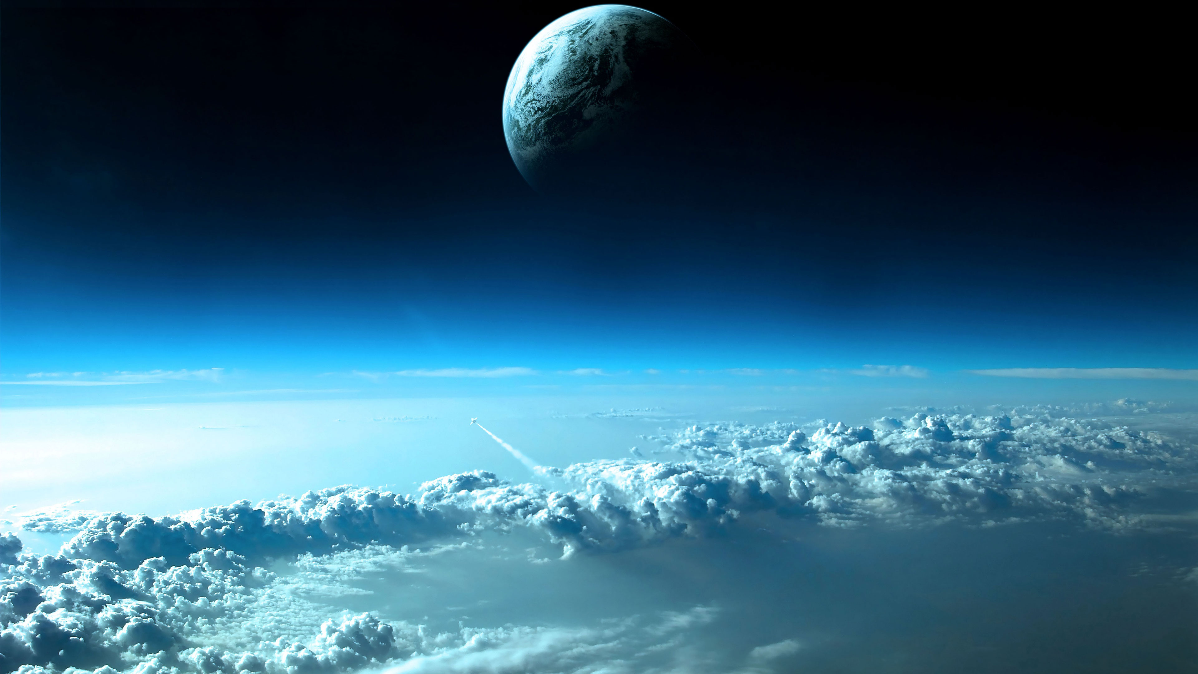 moon above the clouds hd wallpaper | wide screen wallpaper 1080p,2k,4k