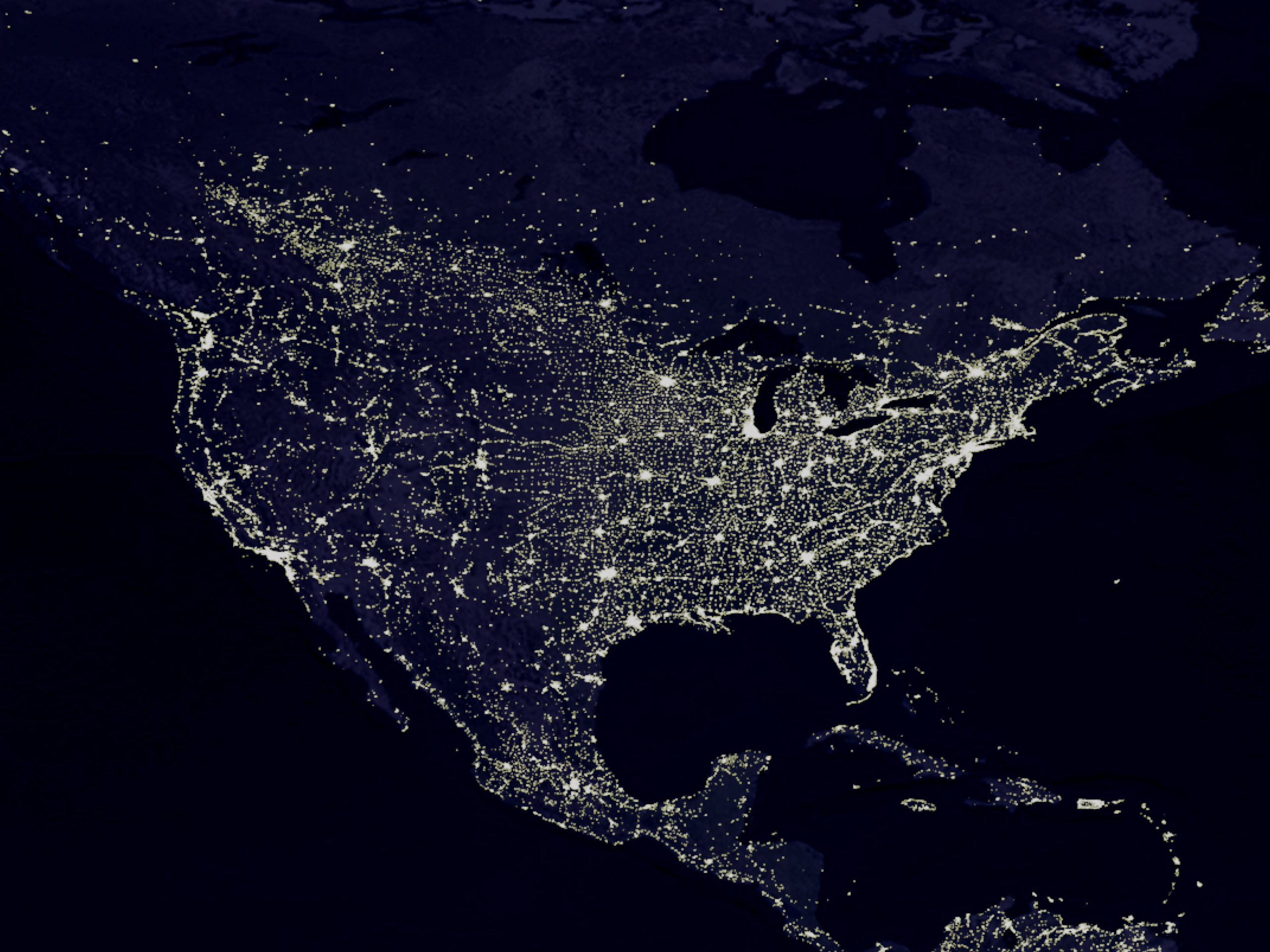The Night Lights of the United States HD Wallpaper