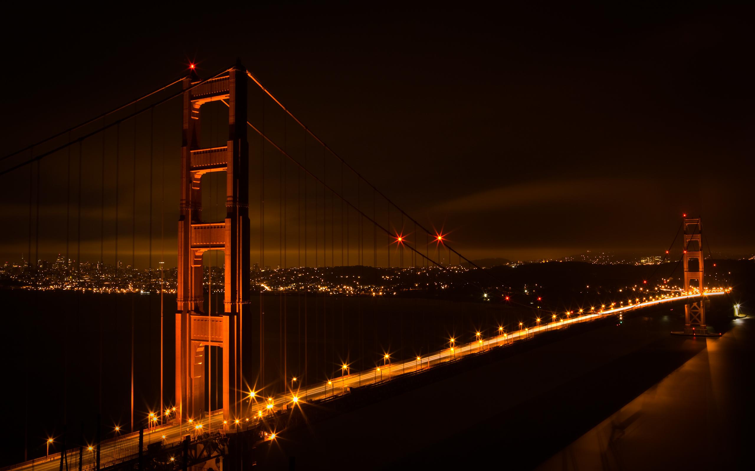 Golden Gate Bridge At Night Hd Wallpaper Wide Screen