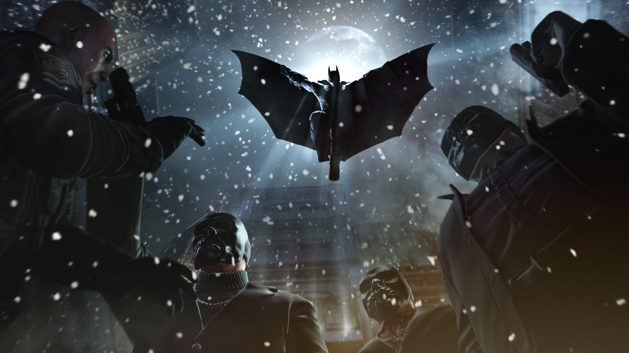 Batman: Arkham Origins - Batman Jumps Thugs 2k Wallpaper