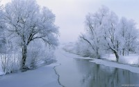 Snow Scenes River HD Wallpaper